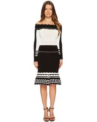 Yigal Azrouël | Black And White Striped Off Shoulder Knit Dress | Lyst