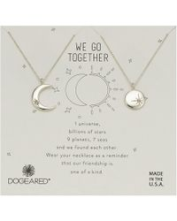 Dogeared - We Go Together, Crecent And Star Disc With Crystal Set Of 2 Necklaces (gold) Necklace - Lyst