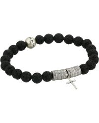 Steve Madden - Bead And Discs With Cross Charm Stretch Bracelet In Stainless Steel (black/silver) Bracelet - Lyst