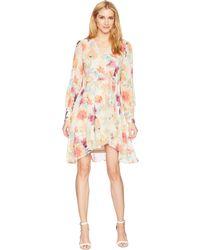 Calvin Klein - Long Sleeve V-neck Floral Print Chiffon Dress Cd8h48kc (watermelon Multi) Women's Dress - Lyst