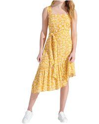 Sam Edelman Textured Animal Ruffle Asymmetrical Hem - Yellow