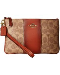 68e38dd94aa4a COACH - Color Block Coated Canvas Signature Small Wristlet (tan chalk brass)