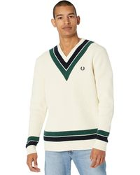Fred Perry Stripe Neck V-neck Sweater Clothing - Natural