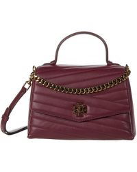 Tory Burch Kira Chevron Quilted Leather Top Handle Satchel - Red