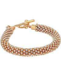 Guess Twisted Rhinestone Toggle Bracelet W/ Drops - Metallic