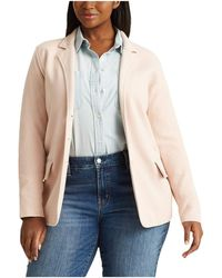 Lauren by Ralph Lauren Plus Size Tubular Trim Blazer - Pink