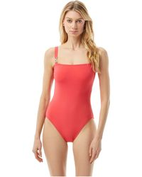 MICHAEL Michael Kors Logo Solid Square Neck One-piece Swimsuits One Piece - Pink