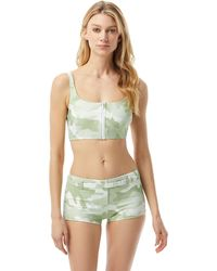 MICHAEL Michael Kors Camo Zip Front Bralette With Removable Soft Cups - Green