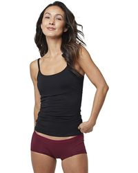Pact Organic Cotton Camisole Tank Top With Built-in Shelf Bra - Black