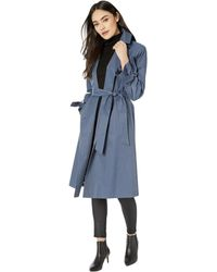 Sam Edelman Cotton Double Breasted Trench Bow Sleeve - Blue