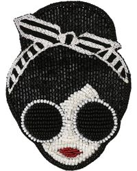 Alice + Olivia Stace Face With Headband Beaded Brooch - Multicolor