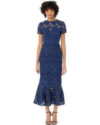 ML Monique Lhuillier Short Sleeve Lace Midi Dress - Blue