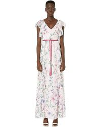 Marchesa notte - Short Sleeve V-neck Printed Chiffon Gown - Lyst