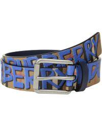 Burberry Mark Printed Vintage Check Leather Belt - Blue