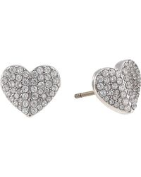 Kate Spade Heart To Heart Pave Small Heart Studs Earrings - Metallic