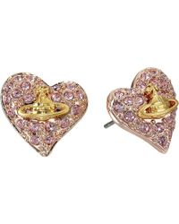 Vivienne Westwood - Tiny Diamante Heart Studs - Lyst
