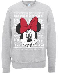 Disney Minnie Face Christmas Sweatshirt - Gray
