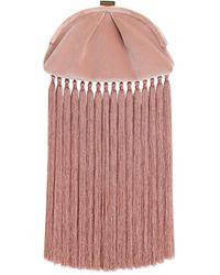Zimmermann Velvet Fringe Pouch - Pink