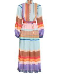 Zimmermann Pleated Long Sleeve Midi - Multicolor