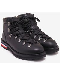 Moncler - Peak Black Leather Ankle Boots - Lyst