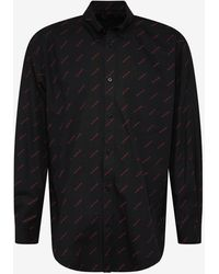Balenciaga Black Shirt With Red Logo Print