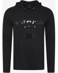 Balmain Hooded Long Sleeve T-shirt - Black