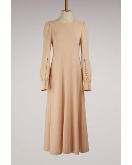 Buttoned-ankle Maxi Wool Dress