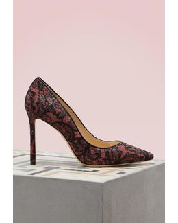 Romy 100 Lace On Suede Pumps