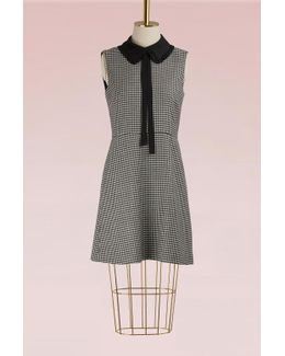 Pied De Poule Mini Dress W Collar