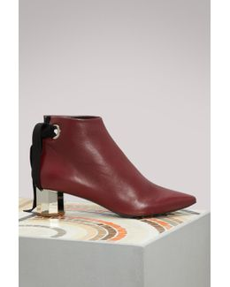Leather Silver Mid Heel Ankle Boots