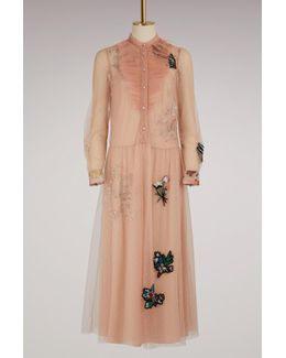 Embroidered Flowers Tulle Dress