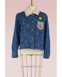 Denim Jacket With Mohair Collar