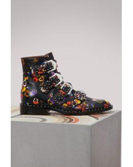 Elegant Pansies Ankle Boots