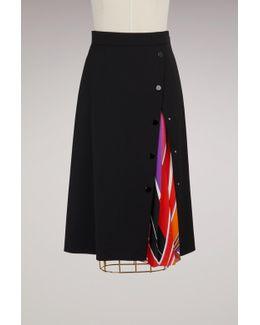 Wool Knee Lenght Skirt With Printed Detail