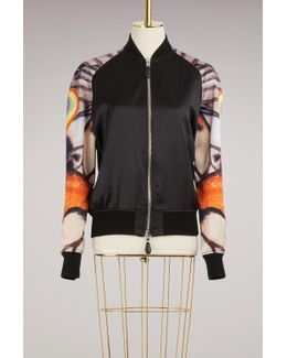 Silk Bomber Jacket With Butterfly Print