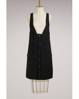Buttoned Wool Mini Dress