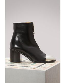 Silver Toe Cap Leather Ankle Boots