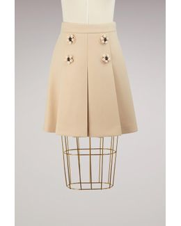 Wool Skirt With Jewel Buttons