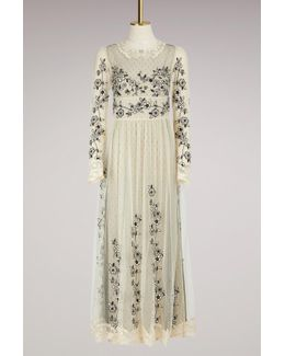 Embroidered Flowers Tulle Long Dress