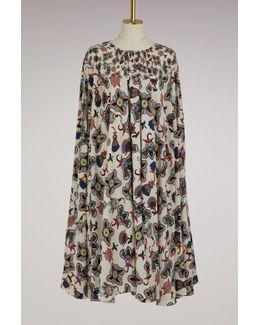 Pop Flower Silk Midi Dress