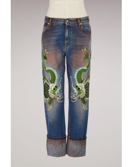 Embroidered Washed Stretch Jeans