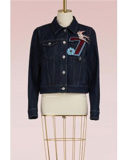 Denim Jacket With Embroidered Number