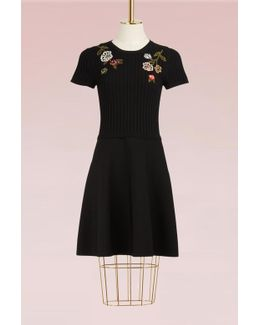 Flowers Embroidered Knit Dress