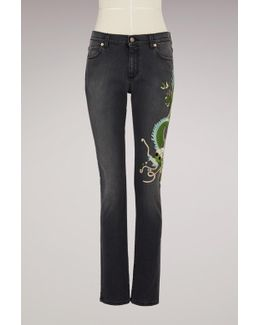 Dragon Embroidered Denim Pant