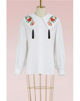 Shirt With Large Embroidered Collar