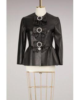Plongé Leather Peplum Jacket