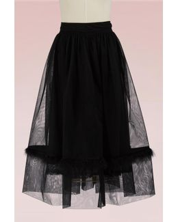 Tulle Skirt With Marabou Trimmed