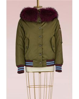 Military Bomber Jacket With Fur Collar