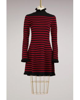 Stripped Dress With Ruffles