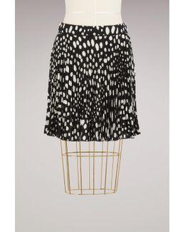 Wavy Spot Crepe De Chine Short Pleated Skirt